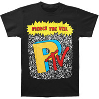 Pierce The Veil Men's  Ptv Logo T-shirt Black Rockabilia