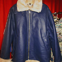 MEN Jacket Leather BOMBER Aviator W FAUX  FUR LINING And Pockets  BLUE Size XL