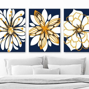 NAVY ORANGE Flower Wall Art, Navy Orange Bathroom Wall Art Decor Canvas or Prints, Navy Orange Flower Bedroom Pictures, Set of 3 Artwork