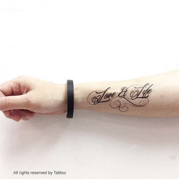 Love & Life in calligraphy   Temporary Tattoo T258