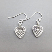 Vintage, Style, Sterling silver, Heart, Silver, Earrings, Sterling silver, Pendant, Hooks, Earrings, Lovers, Friends, Sister, Gift, Jewelry