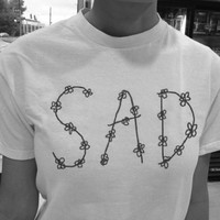 Sad Crop White Crop Shirt