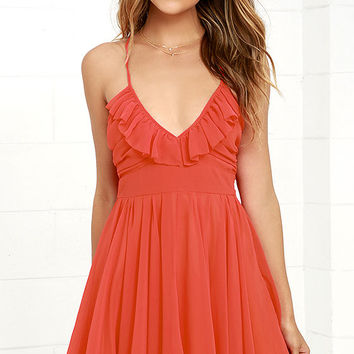 Pixie Palace Coral Red Skater Dress