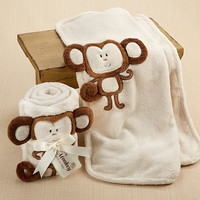 Monkey Plush Velour Baby Blanket