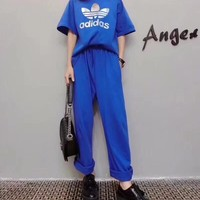 """Adidas"" Women Loose Casual Letter Logo Print Short Sleeve Wide Leg Pants Trousers Set Two-Piece Sportswear"