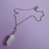 quartz crystal point necklace, raw crystal necklace, pastel goth, gothic, witchy jewelry