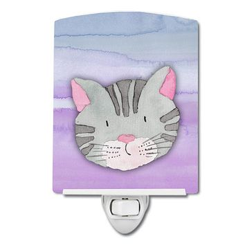 Cat Face Watercolor Ceramic Night Light BB7355CNL