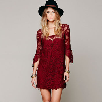 Bell Half Sleeve Lace Mini Dress