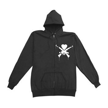 Man Overboard Men's  Crest Zippered Hooded Sweatshirt Black Rockabilia