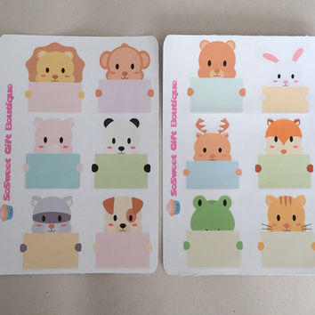 Cute Animal Stickers Planner Stickers, Calendar Stickers, Weekly Planner, Erin Condren, Filofax, Plum Paper, Sticker