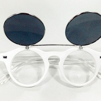 Retro Steampunk Flip Up Double Lens Sunglasses