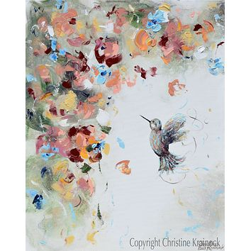 """Infinite Joy"" GICLEE PRINT Art Abstract Hummingbird Painting Flowers Blue White Rose Gold"
