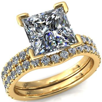 Nefili Princess/Square Moissanite 4 Prong 3/4 Eternity Diamond Accent Engagement Ring