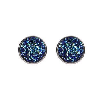 Simple Round Colorful Dark Blue Black Violet Red Rough Druzy Drusy Stone Bead Charm Silver Color Metal Stud Earrings For Women