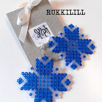 Earrings made of Hama Mini Beads - Rukkilill (Cornflower)