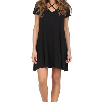 Black Criss Cross T-Shirt Dress at Blush Boutique Miami - ShopBlush.com : Blush Boutique Miami – ShopBlush.com