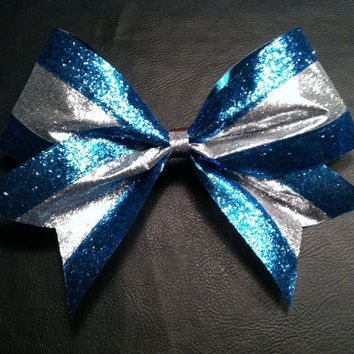 Blue and silver texas size 3 inch glitter by 2girls2Tus on Etsy