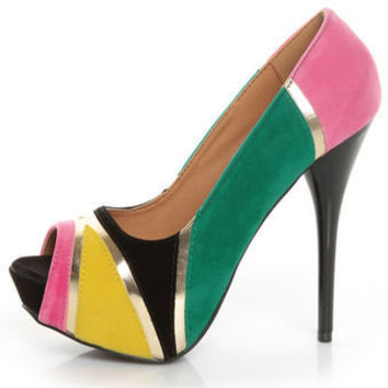 Qupid Neutral 196 Black Velvet Retro Color Block Platform Pumps - $37.00