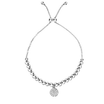 Silver Rhodium Finish Bead+Round Element on Cable Chain Bracelet with Draw String Clasp+CZ