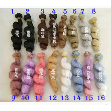 1pcs 15cm length natrual color thick 1 3 1 4 1 6 bjd curly wigs wave doll hair