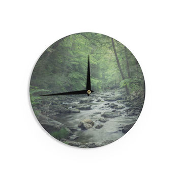 "Suzanne Harford ""Misty Forest Stream"" Nature Photography Wall Clock"