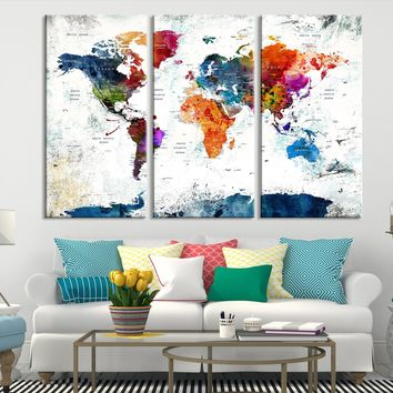 N14461 - Modern Large Colorful Wall Art World Map Map Canvas Print for Living Room Decor Art- Ready to Hang