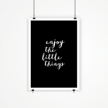 "Home and Living Home Decor Wall Decor ""Enjoy the Little Things"" Inspirational Print Art Typography Poster"