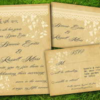 DIY Printable - Vintage Lace Flowers Leaves Classic Customizable Wedding Invitation and RSVP Card Suite