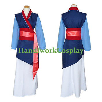 Disney Mulan Cosplay Ha Mulan Blue Costume Custom Any Size