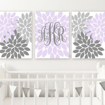 Lilac LAVENDER GRAY Nursery Wall Art, Baby Girl Monogram Decor, Girl Bedroom Flower Wall Decor, Set of 3, Canvas or Prints, Above Crib Decor