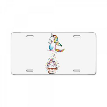 Cute Unicorn and Happy Cupcake License Plate