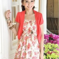 Summer Collection Floral Girls Spaghetti Strap Dresses Red : Yoco-fashion.com