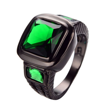 10 Big Band Luxury Emerald Ring Green CZ Men Women Classic Wedding Jewelry Black Gold Filled Engagement Rings Bague Femme RB0459