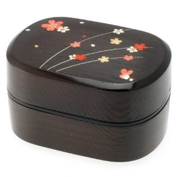 Kotobuki 2-Tiered Bento Box, Brown/Red Cherry (Sakura) Blossom