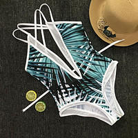 Sexy Women Summer Beach Multi-Rope Backless Leaf Print Deep V Collar Back Cross One Piece Bikini Swimsuit Bathing