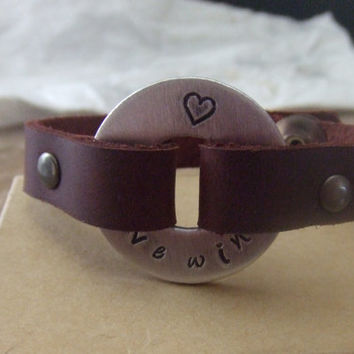 Handstamped Silver and Leather Medical Alert Cuff Bracelet - Diabetic Asthma Allergies Autism Pacemaker