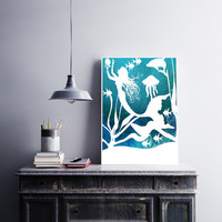Mermaid Papercut - Mermaid Decor - Paper Cutting Art - Beach House Decor - Bathroom Wall Art - Nautical Bathroom - Mermaid Pictures