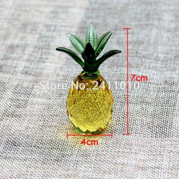 1pcs 40mm Crystal Crafts Pineapple Glass Paperweight Fengshui Figurine Quartz Ornaments Home Decoration Christmas Souvenir Gifts