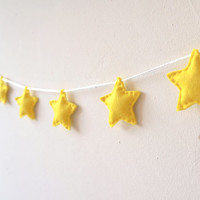 Star Garland, Star Banner, Star Bunting, Yellow stars, wall decor, nursery decor, photo prop, baby shower gift, home decor, star streamer