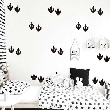Cartoon Dinosaur Feet  Wall Sticker Children Room Cut Dinsour Footprint Wall Decal Baby Nursery Animal Home Decor