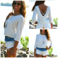 Field Day Off White Criss Cross Daisy Top