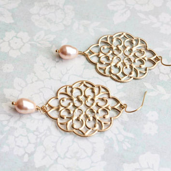 Gold Filigree Earrings Peach Pearl Drops Big Dangle Large Chandelier Earrings Bridal Jewelry Bridesmaids Gift for Mother, Sister, Girlfriend