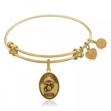 ac NOVQ2A Expandable Bangle in Yellow Tone Brass with U.S. Marine Corps Proud Mom Symbol