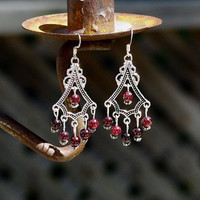 Garnet Earrings ~ Chandelier Earrings ~ Red Stone Jewellery ~ Tibetan Silver ~ Gift for Step Mom ~ Graduation Wear ~ Birthday Gift