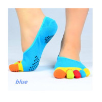 Colorful Five Toe Anti Slip Backless Socks