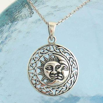 Rustic Sun and Moon Necklace with Celtic Border