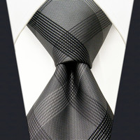 S1 Checked Black Dark Gray Plaids Men's Ties Neckties Extra Long Size Fashion 100% Silk Jacquard Woven