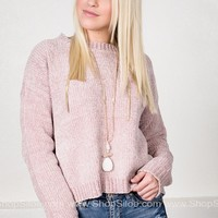 Icy Pink Ribbed Sweater