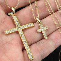 Womens BIG Double Cross Pendant LONG Necklace Chain Crystal Gold Plated P86