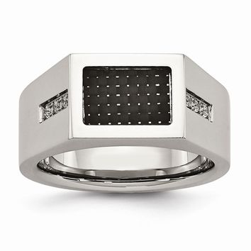 Stainless Steel Polished Black Carbon Fiber Inlay with CZ Ring 9 to 11 Size
